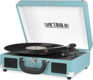 Victrola Vintage 3-Speed Bluetooth Portable Suitcase Record Player with Built-in Speakers..
