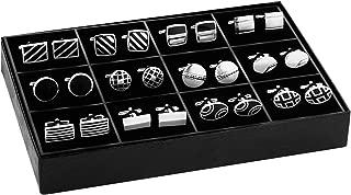 BodyJ4You 12 Pairs Cufflinks Two Tone Classy Stylish Men Black Silvertone Cuff Links Elegant Set Gift Box