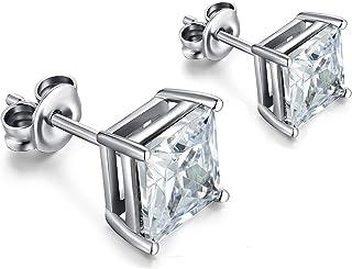 55656baef ZowBinBin Stud Earrings Sterling Silver Round Cut Cubic Zirconia Stud  Earrings 4-8mm Available Fake