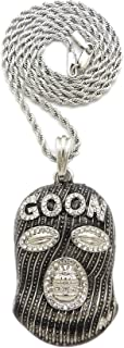Stone Stud Full Face Ski Mask Goon Pendant with 2mm Rope Chain Necklace