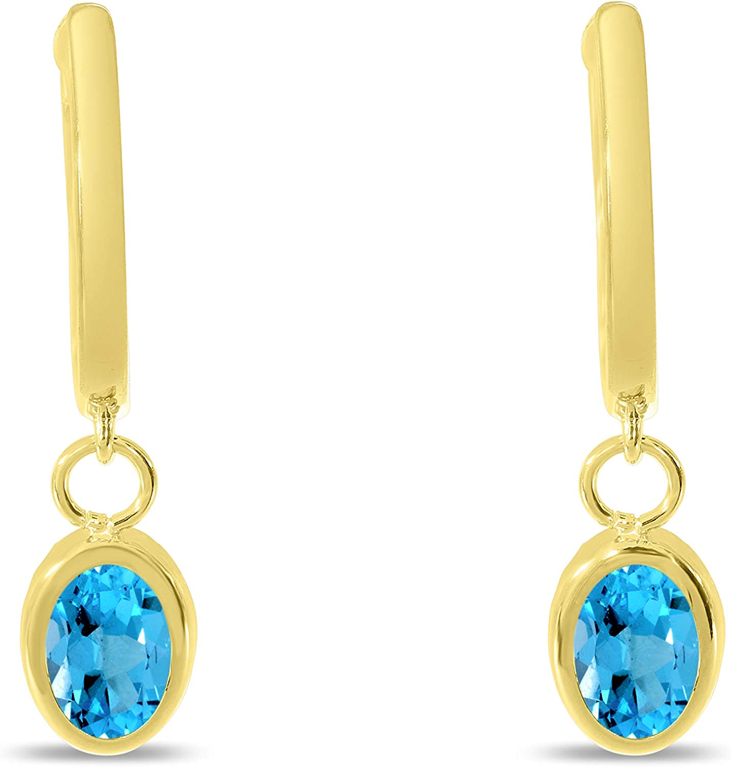 14K Yellow Gold Polished Hoop Discount is also underway and Now on sale Blue Topaz Genuine Earr Dangle