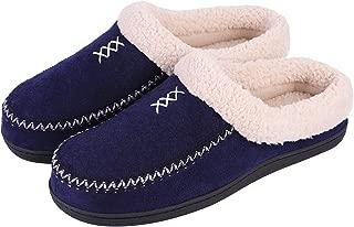 Men's Cozy Memory Foam Micro Woolen Plush Fleece Slippers Slip On Clog House Shoes w/Hand-Craft Woven Trim