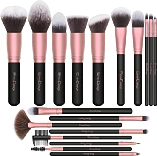 EmaxDesign Makeup Brushes,18 Pcs Professional Makeup Brush Set Premium Synthetic Brush Foundation Blush Concealer Blending Powder Liquid Cream Face Eyeshadow Brushes Kit (Rose Golden)