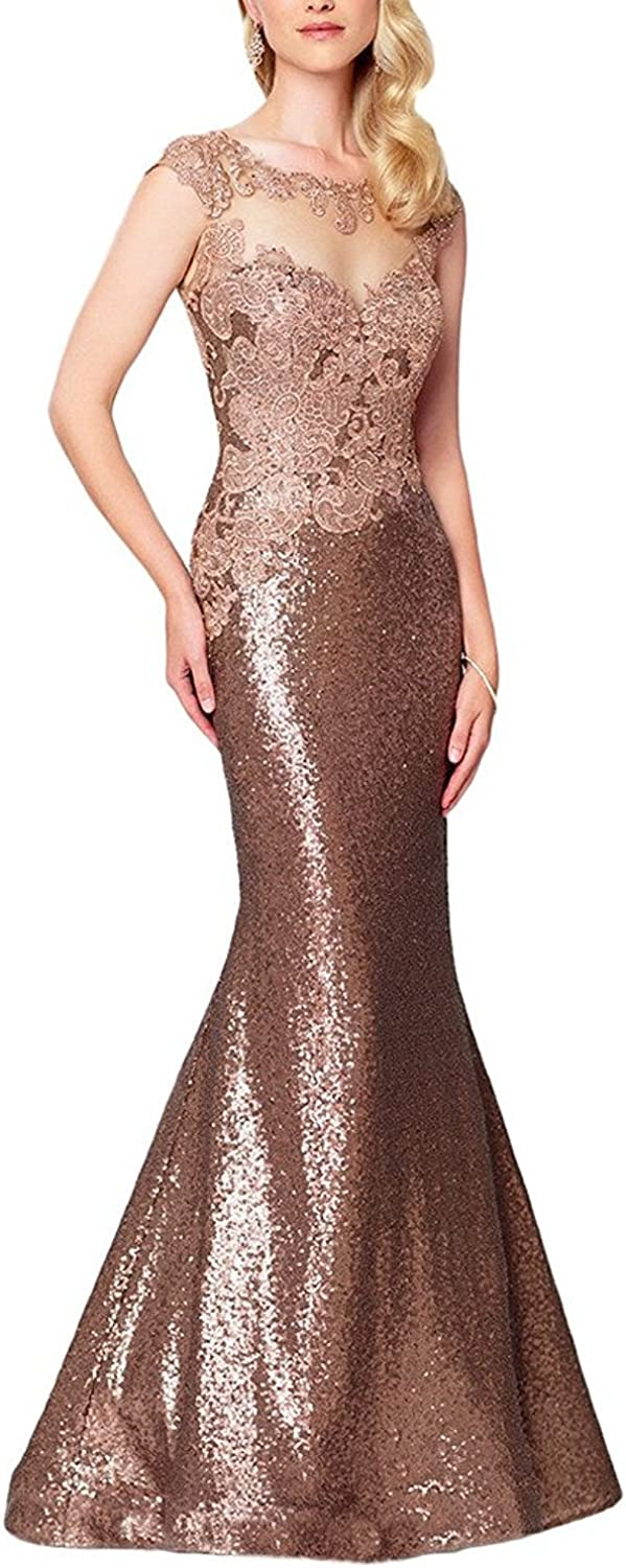 YOUAREFACNY Mermaid golden Flower Sequins Party Gowns Mother of the Bride Dress