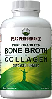 Bone Broth Collagen Capsules. 180 Pills of Grass Fed Bone Broth Collagen Protein Peptides. Contains All 3 Collagen Types 1, 2, and 3. Pure Pasture Raised Paleo Friendly Tablets for Women and Men