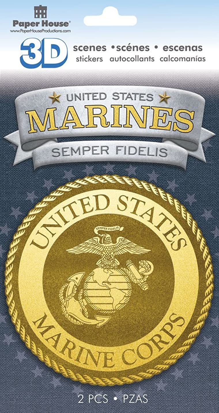 Paper House Productions STDM-0813E 3D Cardstock Stickers, Marines Emblem (3-Pack)