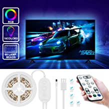 LED TV Backlight with Remote, Govee Music Sensor RGB LED Strip Lights 6.56FT for 40-60in TV, 20 Color Changing 5050 LEDs Accent Strip Lighting with 3M Tape and 5 Support Clips, USB Powered