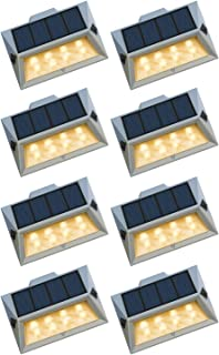 Roopure【Newest Version 8 LED】Solar Step Lights Waterproof IP65 Solar-Powered Deck Lights Outdoor Ambiance Warm White Light...