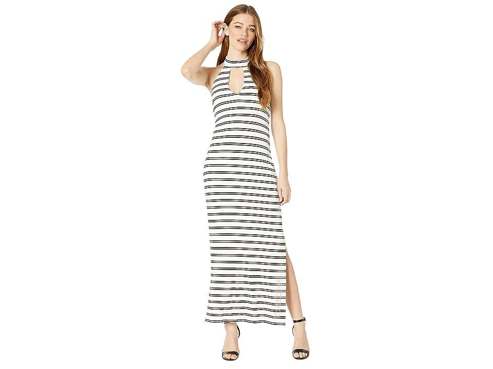 Bebe Deep V Halter Maxi Dress (Ellie Stripe) Women