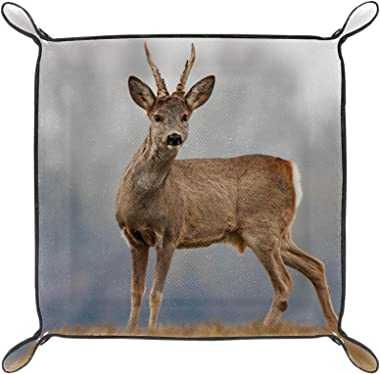 Leather valet Tray Multi-Purpose storage box Tray Organizer Used for storage of small accessories,animal Deer