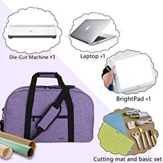 Luxja Carrying Bag for Cricut Machine, Laptop, Bright Pad, Cutting Mat and Other Accessories, Storage Bag Compatible with Cricut Explore Air (Air2) and Maker (Bag Only), Purple