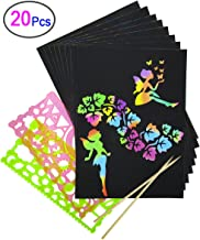 Rainbow Scratch Paper, Mega Value 20 Sheet Rainbow Art Scratch Boards.(2 Stylus and 2 rulers)