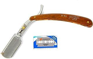 Straight Barber Edge Razors Folding Shaving Knife With 10 PCS Blades Brown