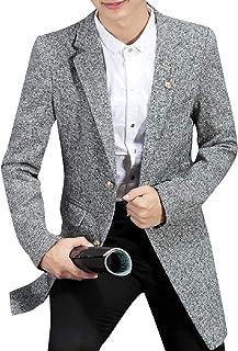 XINHEO Mens Linen Blend Raw Cut Hem 2 Button Overcoat with Brooch
