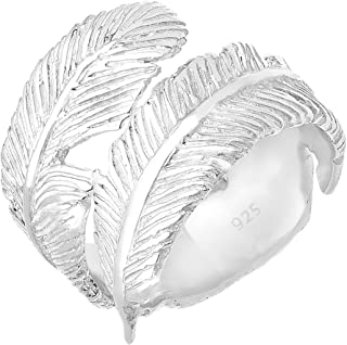 Elli Women's 925 Sterling Silver Feather Resizeable Ring - Size N