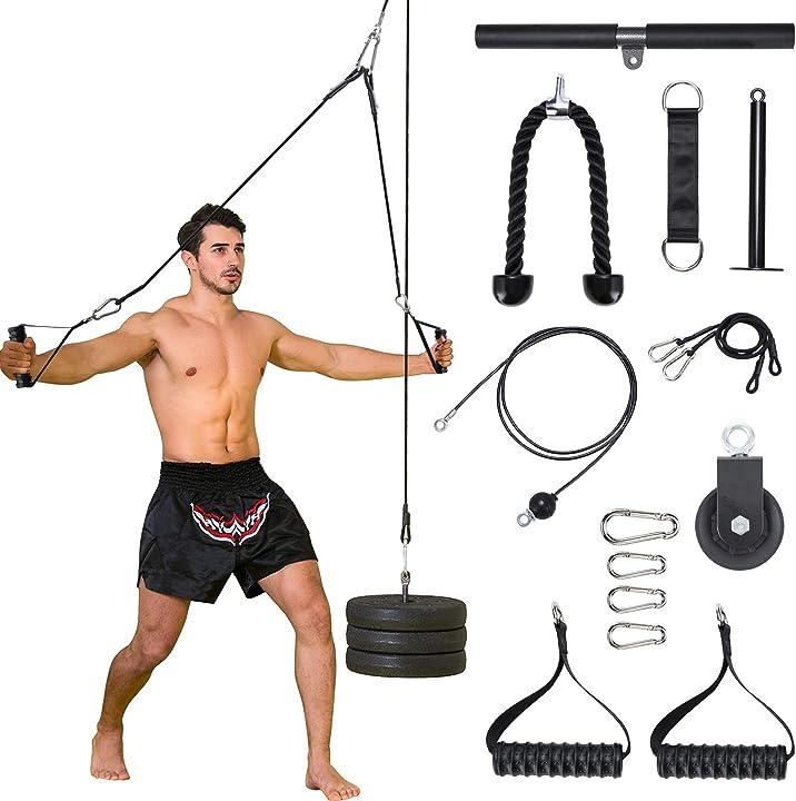 Rullo da polso, aggiornato 12 accessori inclusi -  sistema di puleggia per cavi fitness- pellor B08N6SHF5Z
