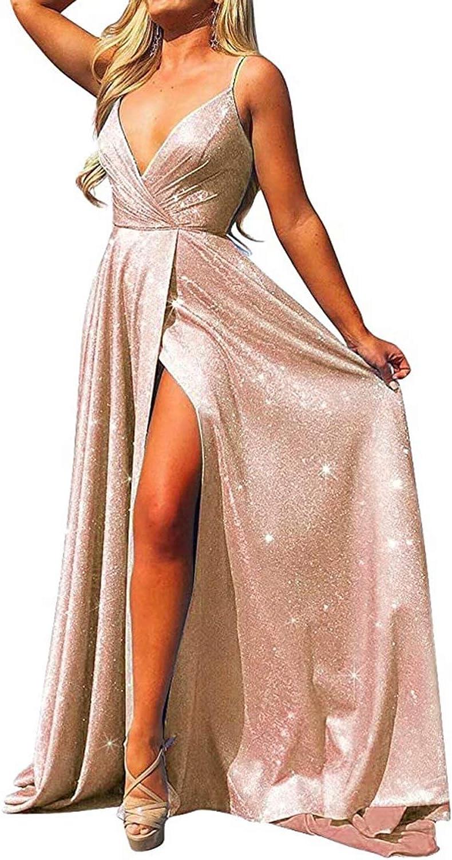 RYANTH Women's V Neck Prom Dress Glitter Long Evening Dress with Slit Spaghetti Formal Gown RPM154