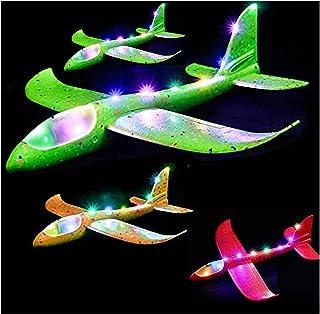 4 stycken flygplansleksak, 2 typer av flyglägesskumglidare, Deluxe-uppgraderad version flygleksak med blinkande ljus, 18,9...