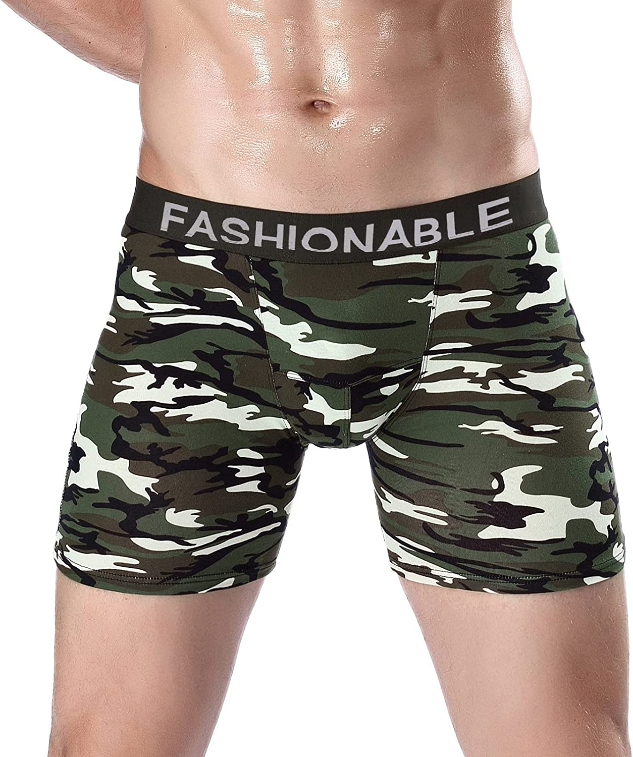 Mens Camouflage Boxer Briefs Underwear Comfort Breathable Cool Dri Fit Cotton Stretch Waistband Boxers G-Strings Thongs