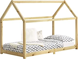 [en.casa] Lit Cabane Design Lit d'enfant de Forme Maison Stylé Sommier à Lattes Lit Simple Pin 90 x 200 cm Bois Naturel