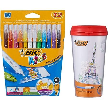 ビック 水性ペン ビッグキッズ カラーペン10色 消せるペン2本 レッドケース付 BKCE12E-TUMR
