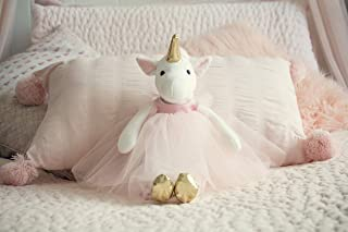 Inspired by Jewel Ella The Unicorn Premium Quality Stuffed White Unicorn Plush Doll with Golden Horn, Hooves & Flowing Pink Mane & Soft Tail | Playable Toy with Movable Legs with Huggable Arms