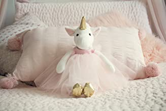 Inspired by Jewel Ella The Unicorn Premium Quality Stuffed White Unicorn Plush Doll with Golden Horn, Hooves & Flowing Pink Mane & Soft Tail   Playable Toy with Movable Legs with Huggable Arms