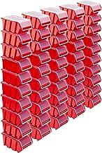 Stapelboxen Set - 50x stapelbox met deksel 195x120x90 mm - kijkbox stapelbox opslagbox, rood