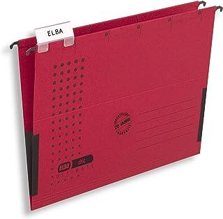 ELBA 100560145 chic ULTIMATE zestaw 5 szt. kartonów z recyklingu na format DIN A4 z lnianymi żabkami w kolorze czerwonym –...