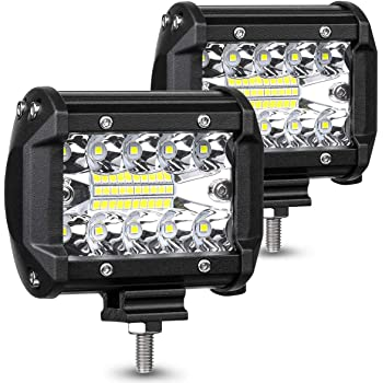 Pack of 2 Parleto 7 Inch LED Light Bar 144W Submersible Quad Row Spot Beam Off Road Fog Driving Work Lights for Truck Trailer Pickup Boat SUV RV