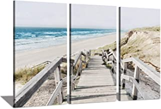 Seascape Artwork Coastline Pier Picture: Wooden Boardwalk on Beach Sea Bridge at Sunrise Photographic Print on Wrapped Canvas for Wall Art