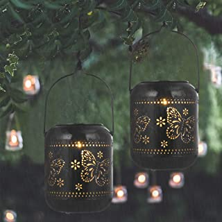 OSALADI Hanging Solar Lantern Outdoor Retro Butterfly LED Solar Lamp Lantern Decorative Tabletop Light with Handle for Gar...