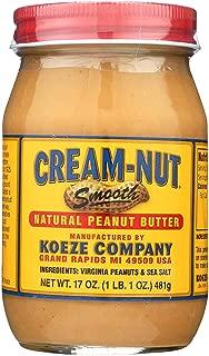 CREAM NUT, Pnut Btr, Smooth, Natural, Pack of 6, Size 17 OZ, (Dairy Free Gluten Free Kosher Wheat Free Yeast Free)