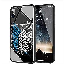 iPhone 7 Funda, iPhone 8 Funda, Cubierta Trasera de Vidrio Templado, Silicona Suave, Compatible con iPhone 7/8 AMA-5 Attack On Titan Levi
