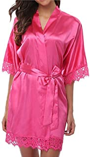 Elonglin Women's Dressings Gowns Satin Silk Imitation Bathrobe Kimono Sleepwear Sexy Fun Nightgown