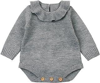 LANSKIRT_Ropa de bebé, Mono Bebé, LANSKIRT Recién Nacido Bebé Niña Color Sólido Manga Larga Tejido de Punto Escote de Hoja de Loto Romper Mono Ropa de Trajes