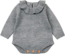 Mono Bebé, LANSKIRT Recién Nacido Bebé Niña Color Sólido Manga Larga Tejido de Punto Escote de Hoja de Loto Romper Mono Ropa de Trajes