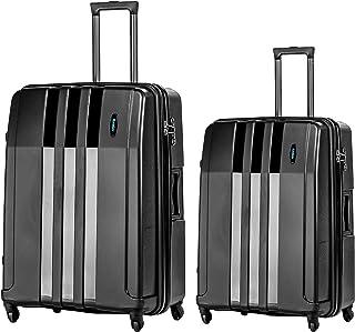 Kemier Set di Valigie Trolley da Viaggio Rigide, Materiale PC + ABS con Lucchetto TSA e 4 Ruote (Nero, 26inch+22inch Set V...