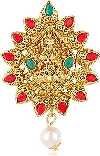 58f9895b2 Om Jewells Gold Plated Traditional Ethnic Red and Green Kundan Studded  Goddess Laxmi Brooches/Saree