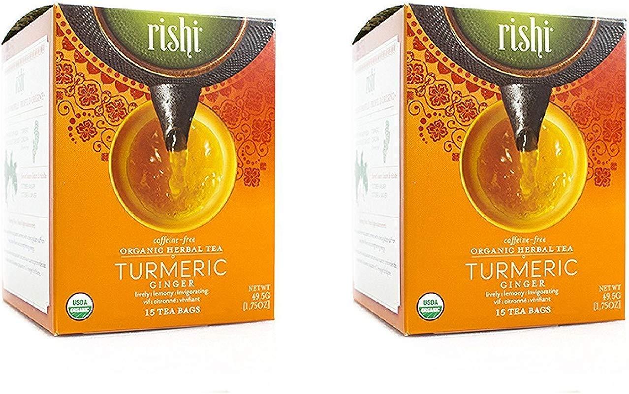 Rishi Tea Turmeric Ginger Tea Organic Caffeine Free Herbal Tea Sachet Bags 15 Count Pack Of 2