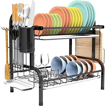 Estante de 2 niveles para secar platos de doble piso con escurridor para encimera de cocina, color negro de Shop Again