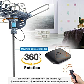 CeKay Digital Outdoor Amplified HD TV Antenna Motorized 360 Degree Rotation 150 Miles with 40FT RG6 Coax Cable Snap-O...