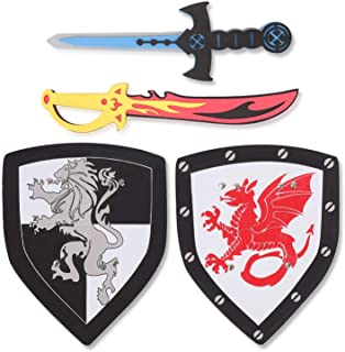 Liberty Imports Dual Foam Sword and Shield Playset - 2 Pack Medieval Combat Ninja Warrior Weapons Costume Role Play Access...
