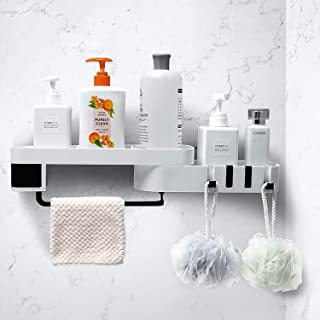 HangHover Rotating Shower Caddy - Shelf Corner Wall Bathroom, Shelves Storage Adhesive, Shampoo Holder Plastic Organizer -...