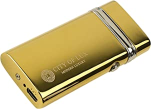 Luxury Cigar Lighter – Dual Classic Lighter by City of Lux – USB Rechargeable – Flameless & Windproof – LED Indicator – Large Autonomy – Elegant Design – Original Gift for Men – Gift Box Included