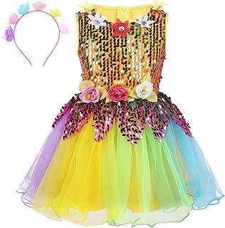 (アゴキー) Agoky 子供 ジュニア用 ガールズ バレエウェア ドレス スパンコール 社交ダンス DJ ジャズ モダンダンス 衣装 ワンピース バレエ練習着 演出服 レインボー チュチュスカート