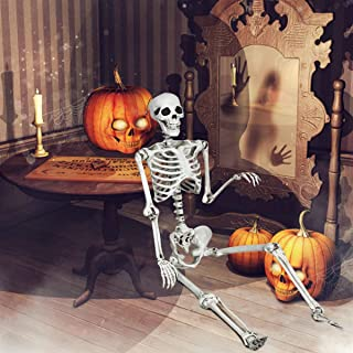 Giantex 5.4 Ft Halloween Skeleton, Life Size Realistic Human Bones, PP Material, Seven Adjustable Joints, Can be Suspended from Ceiling, Seven Adjustable Joints, Suitable for Halloween or Prank Themes