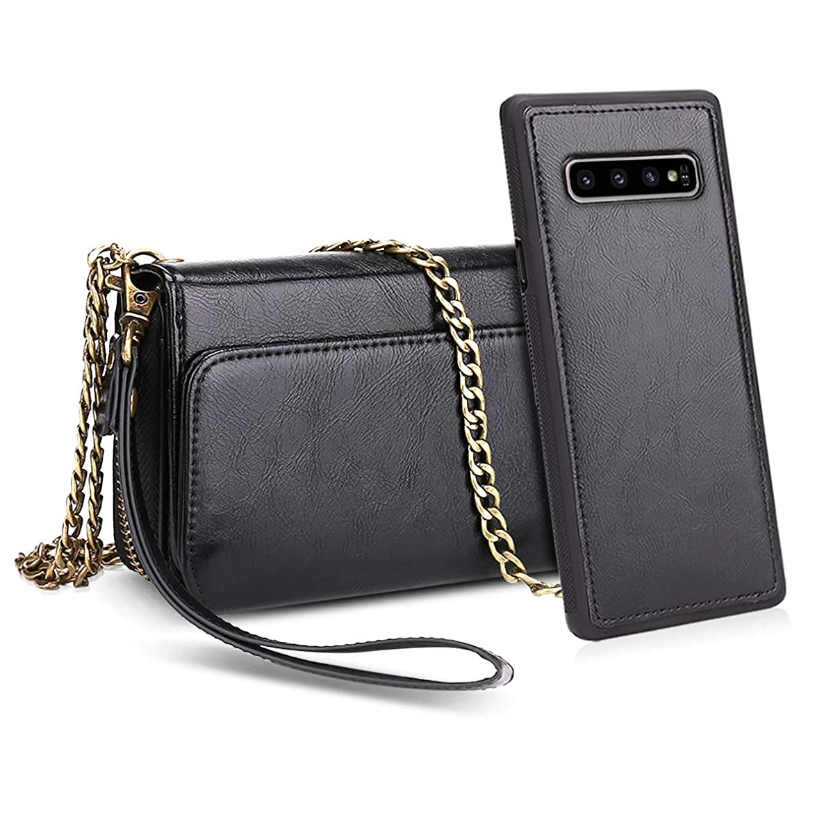 Petocase Compatible Galaxy S10 Wallet Case, Multi-Functional PU Leather Wrist Chain Crossbody Strap Clutch Detachable Magnetic Card Slots Cash Purse Protection Cover for Samsung Galaxy S10 Black