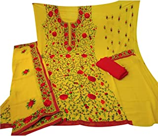 Women's and Girls Ethnic Wear Georgette Parsi Katha Embrodidary Work Designer Unstitched Suits with Dupatta