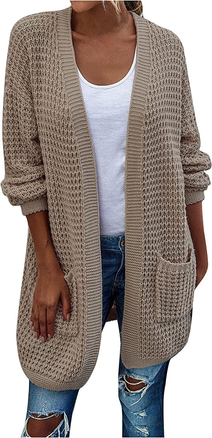 977 Womens Fashion Open Front Long Sleeve Cardigans Sweaters Knitted Coats with Pockets Warm Oversized Outwear